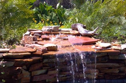 Crab orchard drystack waterfall and planter