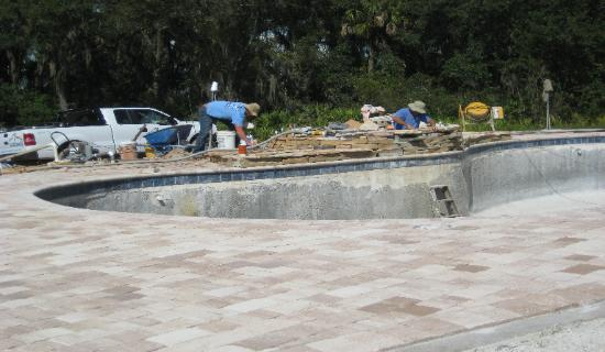 Custom stonework on pool