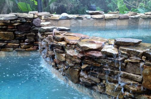 Spa spillway crafted from Fieldstone in palmetto